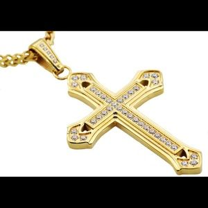 Other - Gold Plated IcedOut Stainless Steel Cross Pendant